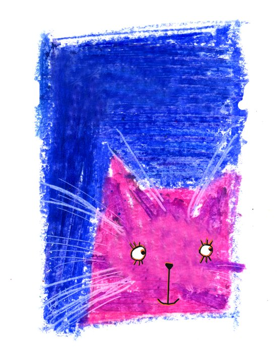 Crayon Cat Canvas Print