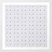 Stuga pattern, white Art Print
