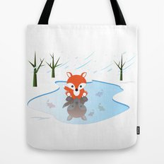 Little Fox On Ice Tote Bag