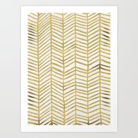 abstract Art Prints featuring Gold Herringbone by Cat Coquillette
