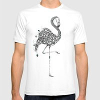 Poetic Flamingo Mens Fitted Tee White SMALL