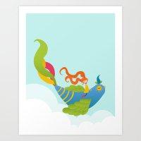 Bird and Girl Art Print