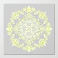 Pale Lemon Yellow Lace M… Canvas Print
