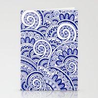 Midnight Blue Maze Stationery Cards
