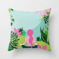 Yoga Garden Throw Pillow