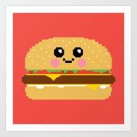 Happy Pixel Hamburger Art Print