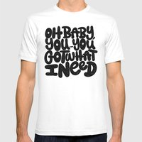 OH BABY YOU Mens Fitted Tee White SMALL