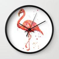 Flamingo, Pink Flamingo, Tropical, bird art, Florida Wall Clock