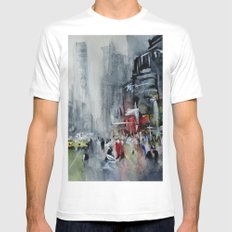 New York - New York SMALL White Mens Fitted Tee