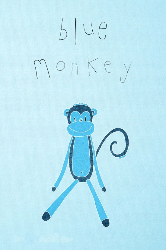 Blue Monkey Art Print
