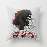 The Great Daikaiju Throw Pillow