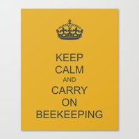 Keep Calm and Carry on Beekeeping Canvas Print