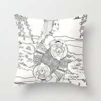 The Queen (Twins) - Black/White Throw Pillow
