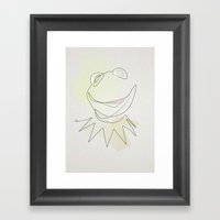 One Line Kermit The Frog Framed Art Print