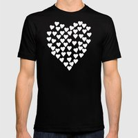 Hearts on Heart White on Black Mens Fitted Tee Black SMALL