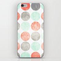 Circles (Mint, Coral & Gray) iPhone & iPod Skin