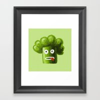 Stressed Out Broccoli Framed Art Print