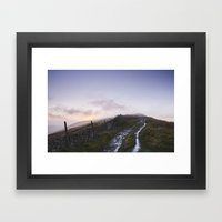 Mountain Path And Fence … Framed Art Print