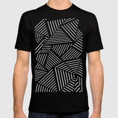 Abstraction Linear Zoom Navy SMALL Black Mens Fitted Tee