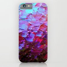 MERMAID SCALES - Colorful Ombre Abstract Acrylic Impasto Painting Violet Purple Plum Ocean Waves Art iPhone 6 Slim Case
