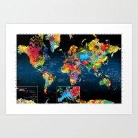 World Map Black Backgrou… Art Print