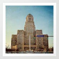 Down Town City Hall Buffalo NY  Color Art Print
