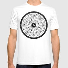 Compass Rose White Mens Fitted Tee SMALL