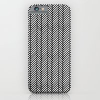 iPhone & iPod Case featuring Herringbone Black by Project M
