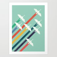 Art Print featuring The Cranes by Budi Kwan