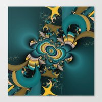teal and yellow fractal  Canvas Print
