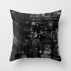 Into the Night - Black & White, textured abstract Throw Pillow