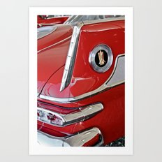 1958 Plymouth Fury Red & White Car Art Print