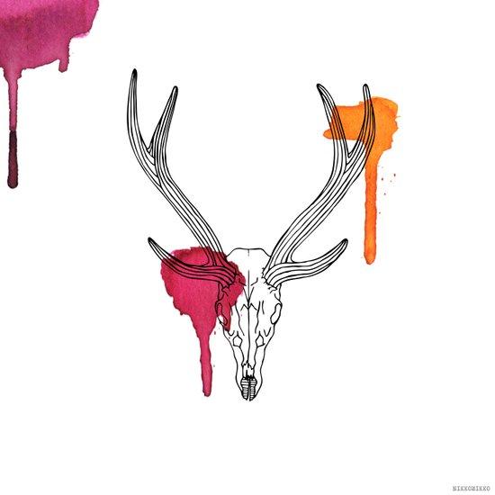 Line Skull 3 Colour Art Print