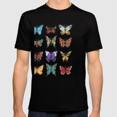 Butterflies (Papillons) SMALL Black Mens Fitted Tee