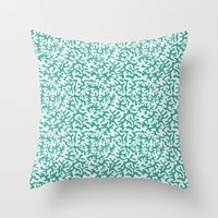 turquoise coral pattern Throw Pillow