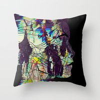 Glitched Girl Throw Pillow