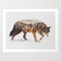 snow Art Prints featuring Arctic Wolf by Andreas Lie