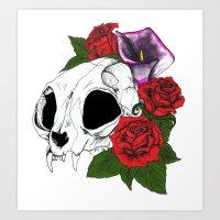 Kitty Skull Art Print