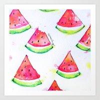 Watermelon Watercolor Pr… Art Print