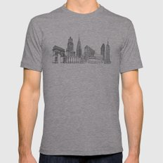 New York City by the Downtown Doodler Mens Fitted Tee Athletic Grey SMALL