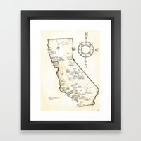 California Farms Map Framed Art Print