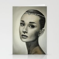 audrey hepburn Stationery Cards featuring Audrey Hepburn by Claire Lee Art