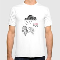 I Hate You / Rain Mens Fitted Tee White SMALL