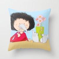 Acting Like Mice.... Throw Pillow