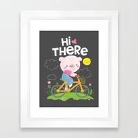 Pig On A Bike Framed Art Print