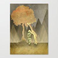 Giraffe Snacks Canvas Print