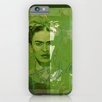 iPhone & iPod Case featuring Frida Kahlo - between worlds - green by ARTito