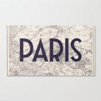 Paris & Map Canvas Print