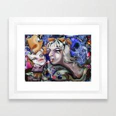 Swan in Love Framed Art Print