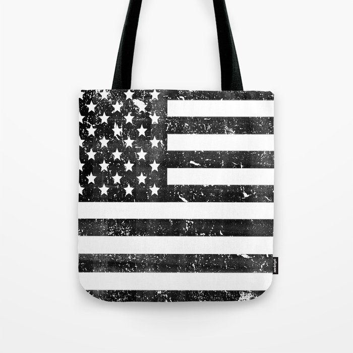 Dirty Vintage Black and White American Flag Tote Bag by ...